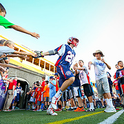 Owen Blye #20 of the Boston Cannons tales the field prior to the game at Harvard Stadium on August 9, 2014 in Boston, Massachusetts. (Photo by Elan Kawesch)