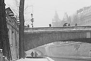 France. Paris. bridges on the Seine river. pont aux double , Parisbridges on the seine river, under notre dame, ile de la cite, saint Michel