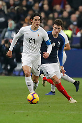 France's Benjamin Pavard battling Uruguay's Edinson Cavani during France v Uruguay friendly football match at the Stade de France in Saint-Denis, suburb of Paris, France on November 20, 2018. France won 1-0. Photo by Henri Szwarc/ABACAPRESS.COM