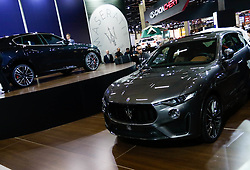"""November 7, 2018 - SãO Paulo, Brazil - SÃO PAULO, SP - 07.11.2018: SALÃO INTERNACIONAL DO AUTOMÃ""""VEL SP 2018 - Maserati, launches its supersport version of its SUV, the Levante Trofeo. The International Automobile Show of São Paulo, the largest exhibition of the automotive industry in Brazil and one of the largest in Latin America, begins this Thursday (08) at the São Paulo Expo, in the south zone of the city of São Paulo. The event takes place every two years in the city of São Paulo, with the aim of showing the latest developments in the automotive world, exposing cars, equipment and accessories. (Credit Image: © Aloisio Mauricio/Fotoarena via ZUMA Press)"""