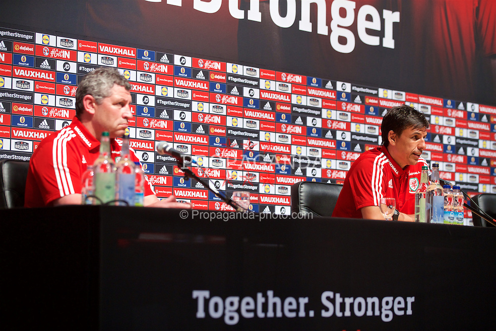 DINARD, FRANCE - Tuesday, June 7, 2016: Wales' manager Chris Coleman during a press conference at the Wales base in Dinard during the UEFA Euro 2016 Championship. (Pic by Paul Greenwood/Propaganda)