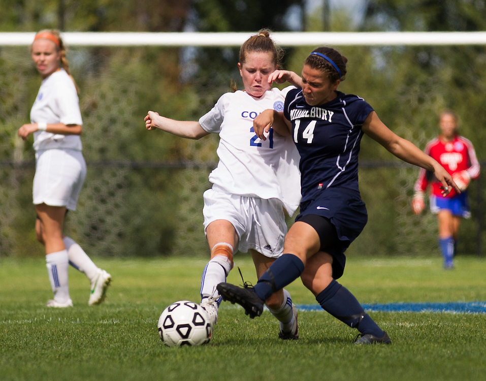 Kat McCarrick, of Colby College, in an NCAA Division III college soccer game against Middlebury College at Colby College, Thursday Sept. 15, 2012 in Waterville, ME. (Dustin Satloff/Colby College Athletics)