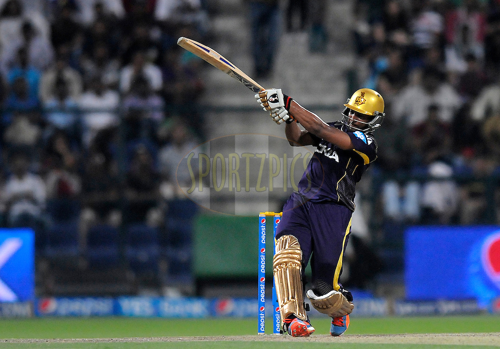 Shakib Al Hasan of the Kolkata Knight Riders bats during match 19 of the Pepsi Indian Premier League 2014 Season between The Kolkata Knight Riders and the Rajasthan Royals held at the Sheikh Zayed Stadium, Abu Dhabi, United Arab Emirates on the 29th April 2014<br /> <br /> Photo by Pal Pillai / IPL / SPORTZPICS