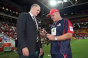 Reds Chairman Rod McCall with coach Ewen McKenzie. Queensland Reds v NSW Waratahs. Investec Super Rugby Round 10 Match, 24 April 2011. Suncorp Stadium, Brisbane, Australia. Reds won 19-15. Photo: Clay Cross / photosport.co.nz