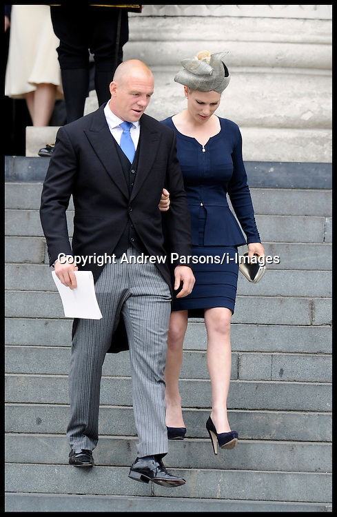 Zara Phillips and her Husband Mike Tindall at St Pauls Cathedral for the National Service of Thanksgiving celebrating the Queens Diamond Jubilee Tuesday June 5, 2012. Photo By Andrew Parsons/i-Images
