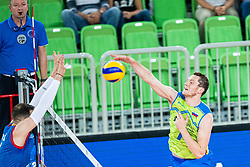 Toncek Stern of Slovenia smashing ball during friendly volleyball match between Slovenia and Serbia in Arena Stozice on 2nd of September, 2019, Ljubljana, Slovenia. Photo by Grega Valancic / Sportida