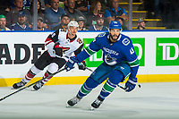 KELOWNA, BC - SEPTEMBER 29: Michael Grabner #40 of the Arizona Coyotes back checks Darren Archibald #49 of the Vancouver Canucks  at Prospera Place on September 29, 2018 in Kelowna, Canada. (Photo by Marissa Baecker/NHLI via Getty Images)  *** Local Caption *** Darren Archibald;Michael Grabner