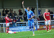Nathaniel Mendez-Laing second goal during the The FA Cup match between Rochdale and Swindon Town at Spotland, Rochdale, England on 7 November 2015. Photo by Daniel Youngs.