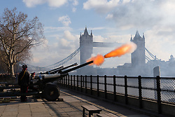 February 6, 2018 - London, UK - A 62 gun salute is fired at the Tower of London in front of Tower Bridge, by the Honourable Artillery Company to celebrate the 66th anniversary of HM The Queen's accession to the throne. (Credit Image: © Vickie Flores/London News Pictures via ZUMA Wire)