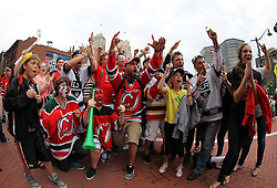June 9, 2012; Newark, NJ, USA;  Fans of the New Jersey Devils and Los Angeles Kings cheer before Game 5 of the 2012 Stanley Cup Finals at the Prudential Center.