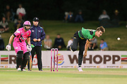 Stags Blair Tickner bowling as Knights Daniel Flynn backs up at the non-strikers end during the Burger King Super Smash Twenty20 cricket match Knights v Stags played at Bay Oval, Mount Maunganui, New Zealand on Wednesday 27 December 2017.<br /> <br /> Copyright photo: &copy; Bruce Lim / www.photosport.nz