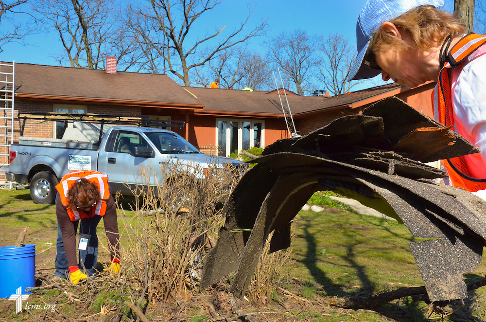 Dozens of chainsaw specialists were part of the more than 200 Lutheran volunteers who responded on Saturday, April 11, 2015, to tornado cleanup in Rochelle, Ill. LCMS Communications/Al Dowbnia