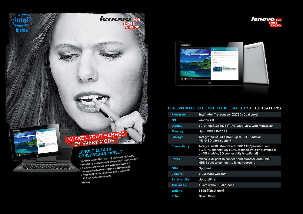 Multimedia and Professional Tablet Technology Advertising Campaign for Lenovo by Advertising Photographer Michel Leroy