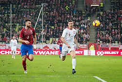 November 15, 2018 - Gdansk, Pomorze, Poland - Ondrej Celustka (3) Robert Lewandowski (9) during the international friendly soccer match between Poland and Czech Republic at Energa Stadium in Gdansk, Poland on 15 November 2018  (Credit Image: © Mateusz Wlodarczyk/NurPhoto via ZUMA Press)