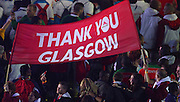 """03.08.2014. Glasgow, Scotland. Glasgow Commonwealth Games. Closing Ceremony from Hampden Park. Team England with a """"thank you Glasgow"""" banner"""