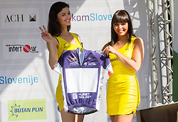 Models with blue jersey at flower ceremony after the Stage 2 from Kocevje to Visnja Gora (168,5 km) of cycling race 20th Tour de Slovenie 2013,  on June 14, 2013 in Slovenia. (Photo By Vid Ponikvar / Sportida)