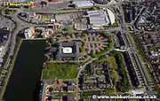 aerial photograph of Atlantic Wharf Cardiff Wales  UK