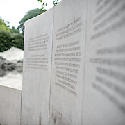 Some of the panels of text at the Memorial to Japanese-American Patriotism in World War II near the US Capitol in Washington DC. The memorial was designed by Davis Buckley and Nina Akamu and commemorates those held in Japanese American internment camps during World War II.