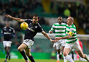 4th April 2018, Celtic Park, Glasgow, Scotland; Scottish Premier League football, Celtic versus Dundee; Sofien Moussa of Dundee and Scott Brown of Celtic