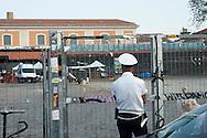 Roma, 7 Agosto 2012.Sgomberati dalla Polizia Municipale gli   spazi commerciali della Città dell'Altraeconomia, nell'ex Mattatoio di Testaccio occupati dagli operatori che originariamente gestivano gli spazi - i cui contratti erano scaduti mesi fa e avrebbero dovuto lasciare la struttura il 31 luglio.