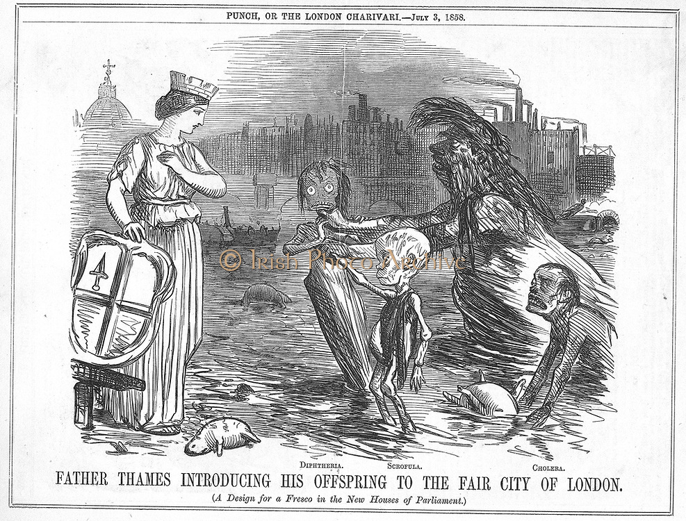 Father Thames Introducing his Offspring to the Fair City of London', the offspring being Diptheria, Scrofula and Cholera. More an open sewer than a river, the disgusting state of the Thames in London.  Cartoon from 'Punch', London, 1858.