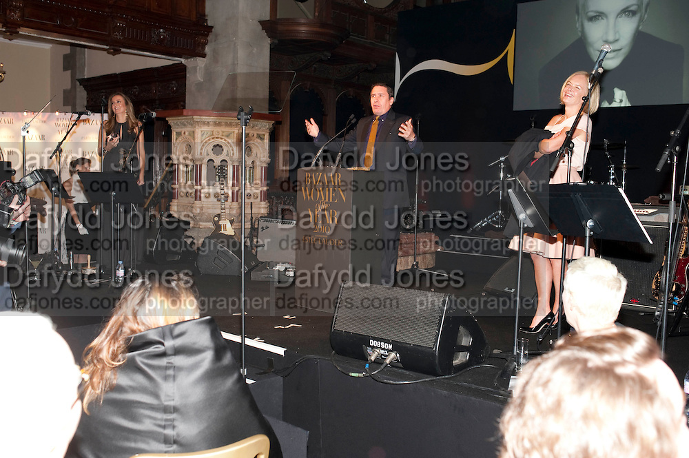 JOOLS HOLLAND;  MARIELA FROSTRUP, Harpers Bazaar Women of the Year Awards. North Audley St. London. 1 November 2010. -DO NOT ARCHIVE-© Copyright Photograph by Dafydd Jones. 248 Clapham Rd. London SW9 0PZ. Tel 0207 820 0771. www.dafjones.com.