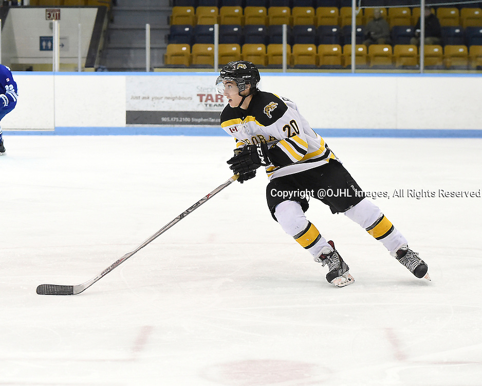 MARKHAM, ON - Oct 11, 2015 : Ontario Junior Hockey League game action between Aurora and Markham, Alex Formenton #20 of the Aurora Tigers skates up the ice during the first period.<br /> (Photo by Andy Corneau / OJHL Images)
