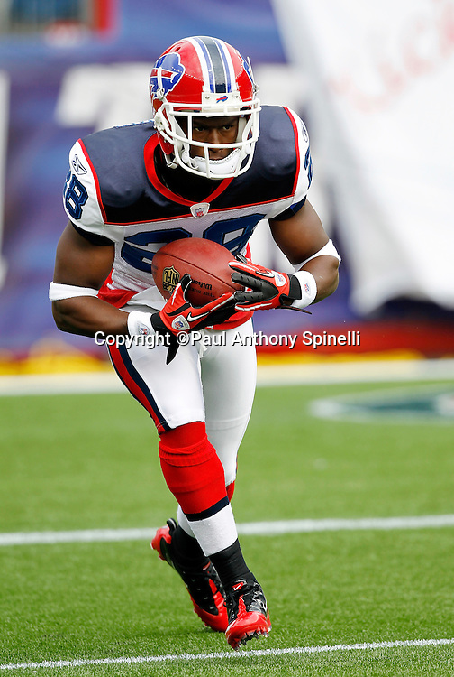 Buffalo Bills kickoff returner Leodis McKelvin (28) returns a pregame practice kick during the NFL regular season week 3 football game against the New England Patriots on September 26, 2010 in Foxborough, Massachusetts. The Patriots won the game 38-30. (©Paul Anthony Spinelli)