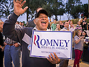 13 FEBRUARY 2012 - MESA, AZ:  A Mitt Romney supporter cheers during Romney's speech in Mesa. Several thousand people crowded into the Mesa Amphitheatre in Mesa, AZ, Monday night to hear Republican Presidential candidate Mitt Romney speak. Romney, a Mormon, is expected to win in Arizona, which has a large Mormon population. Arizona's Republican Presidential primary is February 28.       PHOTO BY JACK KURTZ