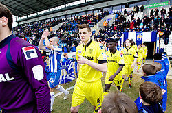 COLCHESTER, ENGLAND - Saturday, February 23, 2013: Tranmere Rovers' Ash Taylor enters the pitch before the Football League One match against Colchester United at the Colchester Community Stadium. (Pic by Vegard Grott/Propaganda)