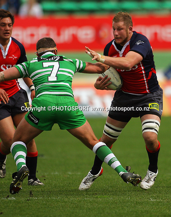 Mark Bright tries to brush off Doug Tietjens.<br /> Air NZ Cup. Manawatu Turbos v Tasman Makos at Arena Manawatu, Palmerston North, New Zealand, Saturday, 4 October 2008. Photo: Dave Lintott/PHOTOSPORT
