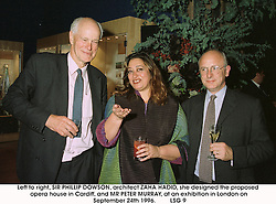 Left to right, SIR PHILLIP DOWSON, architect ZAHA HADID, she designed the proposed opera house in Cardiff, and MR PETER MURRAY, at an exhibition in London on September 24th 1996.<br /> LSG 9