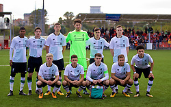 MOSCOW, RUSSIA - Tuesday, September 26, 2017: Liverpool players line-up for a team group photograph before the UEFA Youth League Group E match between Liverpool and Spartak Moscow FC at the Spartak Academy. Back row L-R: Rhian Brewster, Liam Coyle, Conor Masterson, goalkeeper Kamil Grabara, Liam Miller, George Johnston. Front row L-R: Edvard Sandvik Tagseth, Adam Lewis, captain Ben Woodburn, Herbie Kane, Curtis Jones. (Pic by David Rawcliffe/Propaganda)