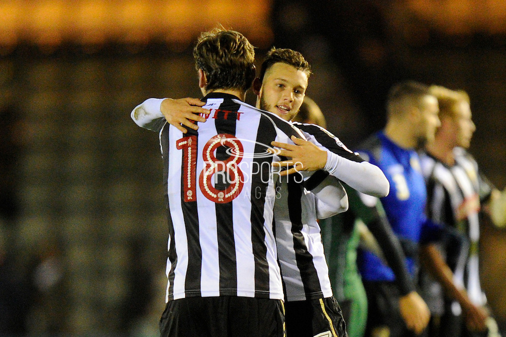 Jorge Grant (17) of Notts County celebrates the 1-0 win over Plymouth with Elliott Hewitt (18) of Notts County during the EFL Sky Bet League 2 match between Plymouth Argyle and Notts County at Home Park, Plymouth, England on 28 February 2017. Photo by Graham Hunt.