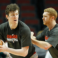16 March 2012: Chicago Bulls center Omer Asik (3) warms up with Chicago Bulls power forward Brian Scalabrine (24) prior to the Portland Trail Blazers 100-89 victory over the Chicago Bulls at the United Center, Chicago, Illinois, USA.