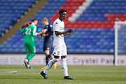 Clarke Oduor of Leeds U23 applauds the fans at the end of the match of the U23 Professional Development League match between U23 Crystal Palace and Leeds United at Selhurst Park, London, England on 15 April 2019.
