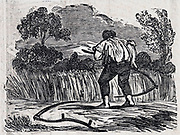 Mowing hay. Woodcut, 1835.