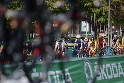 Megan Guarnier (Boels Dolmans) through the bikes on passing team cars on the short circuit at Madrid Challenge by La Vuelta an 87km road race in Madrid, Spain on 11th September 2016.