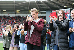 Members of Gerry Gow's family admire a display in the Atyeo Stand in memory of Bristol City legend Gerry Gow who recently passed away - Rogan Thomson/JMP - 22/10/2016 - FOOTBALL - Ashton Gate Stadium - Bristol, England - Bristol City v Blackburn Rovers - Sky Bet EFL Championship.
