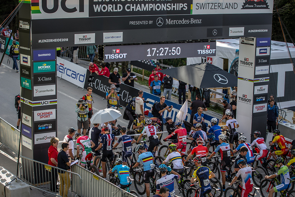 Christopher Blevins (USA) at the start of the Team Relay at the 2018 UCI MTB World Championships - Lenzerheide, Switzerland