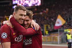February 12, 2019 - Roma, Roma, Italia - Foto Luciano Rossi/AS Roma/ LaPresse.12/02/2019 Roma (Italia).Sport Calcio.AS Roma - Porto  .Uefa Champions League 2018 2019 - Stadio Olimpico di Roma.Nella foto: Nicolò Zaniolo, Edin Dzeko..Photo  Luciano Rossi/AS Roma/ LaPresse.12/02/2019 Roma (Italia).Sport Soccer.AS Roma - Porto   .Uefa Champions League 2018 2019 - Olimpic Stadium of Roma (Italy).In the pic:  Nicolò Zaniolo, Edin Dzeko (Credit Image: © Luciano Rossi/Lapresse via ZUMA Press)