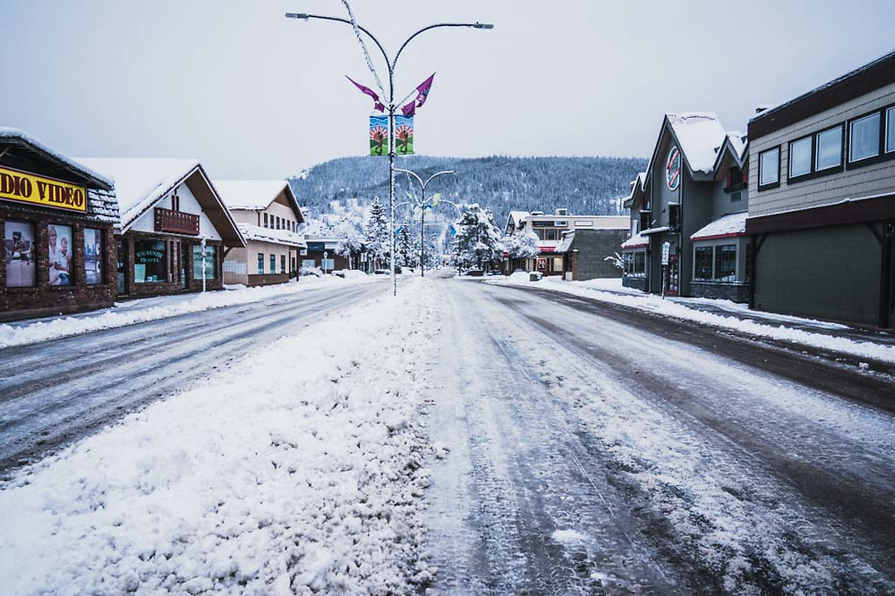 Spring morning on Main Street, Smithers, British Columbia.