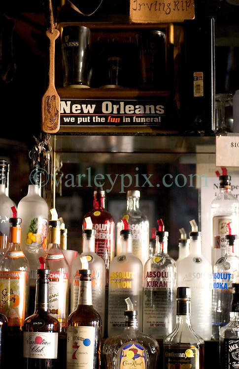 10 Sept 2005. New Orleans,  Louisiana. Hurricane Katrina aftermath.<br /> The Irony of a sign that hangs behind the bar at Molly's  bar on Decatur Street, the famous French Quarter that bar remained open throughout the days following the storm.<br /> Photo; &copy;Charlie Varley/varleypix.com
