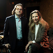 February 26, 2016 - New York, NY : The editor Lucas Wittmann, left, and writer Amanda Foreman -- of House of Speakeasy -- pose for a portrait at Joe's Pub in Manhattan on Friday morning.  CREDIT: Karsten Moran for The New York Times
