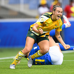 Caitlin Foord of Austalia celebrates his scoring during the Women's World Cup match between Australia and Brazil at Stade de la Mosson on June 13, 2019 in Montpellier, France. (Photo by Alexandre Dimou/Icon Sport)