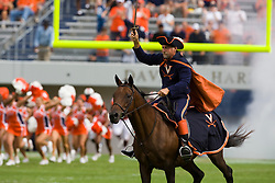 The Virginia Cavaliers mascot enters the stadium on horseback before the start of the Richmond game.  The Virginia Cavaliers defeated the #3 ranked (NCAA Division 1 Football Championship Subdivision) Richmond Spiders 16-0 in a NCAA football game held at Scott Stadium on the Grounds of the University of Virginia in Charlottesville, VA on September 6, 2008.