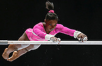 Simones Biles of the U.S. competes on the Uneven Bars during the women's all around final at the Artistic Gymnastics World Championships in Antwerp, Belgium, 04 October 2013.