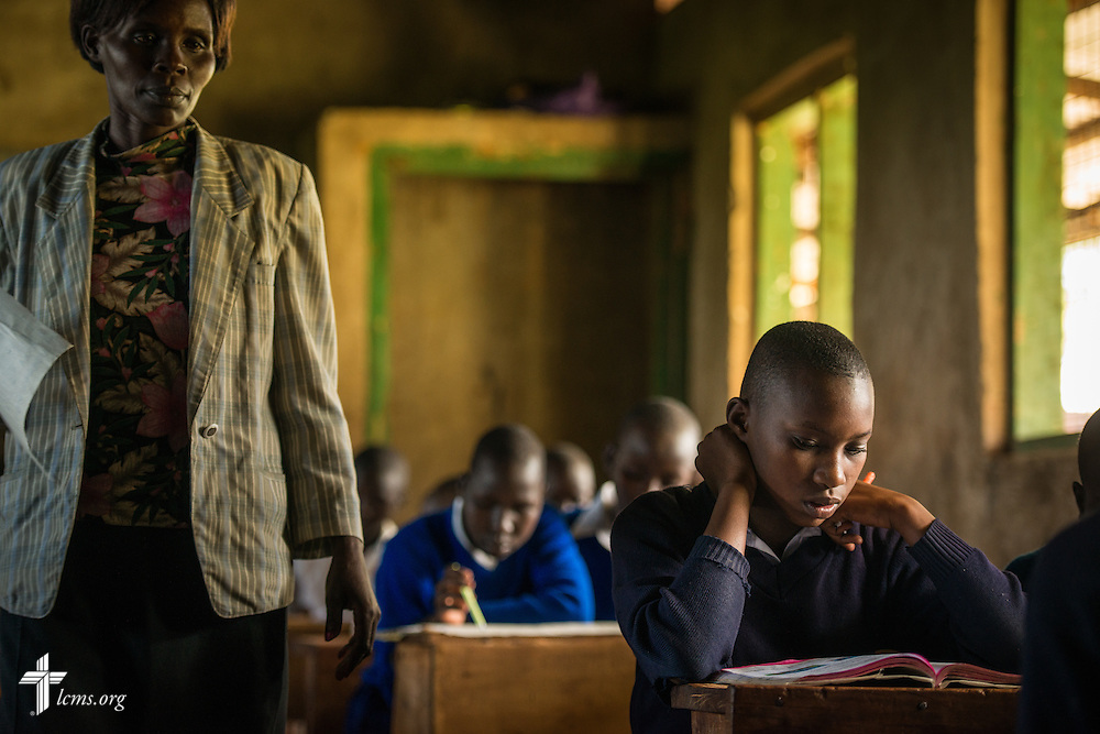 A student from the U-Dom ELCK (Evangelical Lutheran Church in Kenya) Project 24 site prepares for an exam on Thursday, June 23, 2016, at the Propoi Primary School in Chepareria, Kenya.  LCMS Communications/Erik M. Lunsford