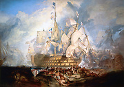 Trafalgar': painting by James Mallord William Turner (1775-1851). Oil on canvas.  Battle of Trafalgar, 21 October 1805, between British and Franco-Spanish fleets.  Britain  victorious but Admiral Horatio Nelson on his flagship 'Victory' was mortally wounded by a French sniper.