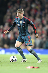 19.02.2014, Emirates Stadion, London, ENG, UEFA CL, FC Arsenal vs FC Bayern Muenchen, Achtelfinale, im Bild Toni KROOS #39 (FC Bayern Muenchen) // during the UEFA Champions League Round of 16 match between FC Arsenal and FC Bayern Munich at the Emirates Stadion in London, Great Britain on 2014/02/19. EXPA Pictures © 2014, PhotoCredit: EXPA/ Eibner-Pressefoto/ Kolbert<br /> <br /> *****ATTENTION - OUT of GER*****